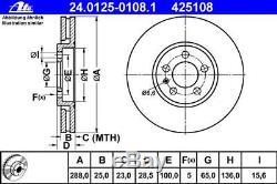 ATE BREMSSCHEIBEN 288mm + CERAMIC VORNE VW GOLF 3 VR6 GTI 16V + PASSAT 35i