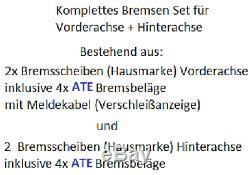 Bremsscheiben Bremsen + ATE Bremsbeläge VORNE + HINTEN VW GOLF 4 1J1 1.6 1.9