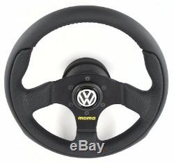 Genuine Momo Team 280mm leather steering wheel, hub kit and horn. Volkswagen VW