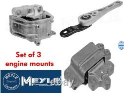Set Of 3 Meyle Engine & Gearbox Mounts Vw Golf Mk5 Gti 2.0 Tfsi 200 & 230hp