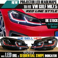 VW GOLF MK7.5 Red HEAD Lamps LED DRL BI-XENON GTI SWIPE SEQUENTIAL INDICATOR
