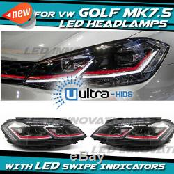 VW GOLF MK7.5 Red HEAD Lamps LED DRL BI-XENON GTI SWIPE SEQUENTIAL INDICATOR UK