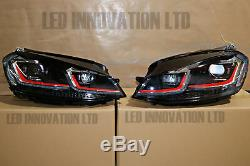 VW GOLF MK7.5 Red HEAD Lamps LED DRL BI-XENON GTI SWIPE SEQUENTIAL INDICATOR UK
