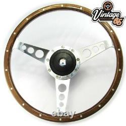 Volkswagen Golf Mk1 14 Light Wood Rim Steering Wheel, Fitting Boss Kit & Horn