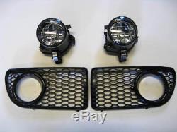 Vw Golf Bora Mk4 R32 Gti Rline Oem Grill & Foglight Kit & Mounting Brackets Kit