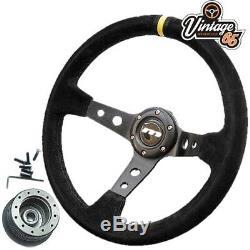 Vw Golf Mk1 Gti 340mm Rally Style Alcantara Steering Wheel & Boss Fitting Kit