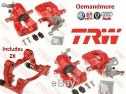 Vw Golf Mk5 Gti Red Rear Brake Caliper & Carrier Set Brand New By Trw