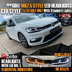 Vw Golf Mk7 Mk7.5 Headlamps Led Drl Bi Led Gtd Swipe Sequential Indicators Uk